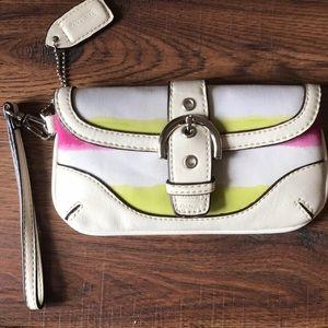 COACH White Pink Yellow Leather Wristlet